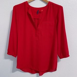 NYDJ Pleat Back Blouse in Red